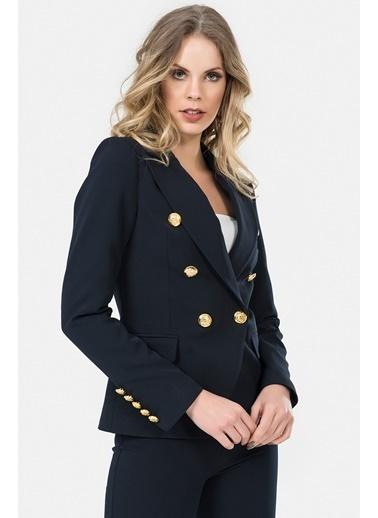 İroni Altın Düğmeli Blazer Ceket Lacivert
